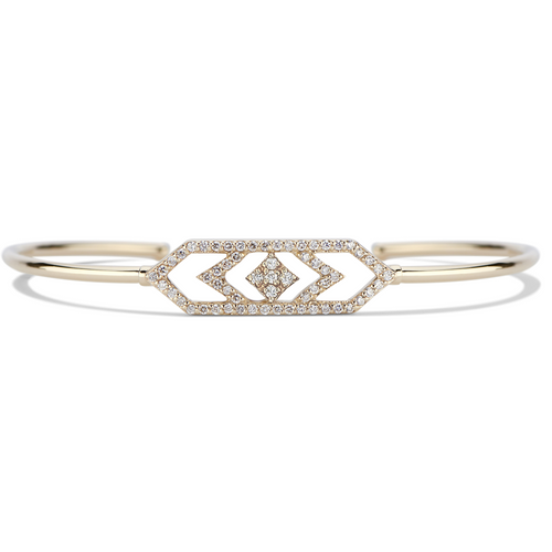 Gianna Chevron Cuff Bracelet in14k Yellow Gold and Diamonds