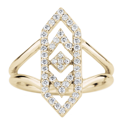 Gianna ChevronRing with Diamond in 14K Yellow Gold