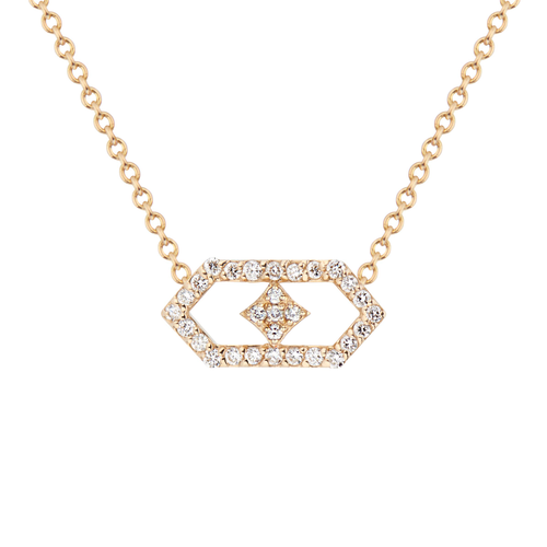 Gianna Petite Chevron Pendant in 14K Yellow Gold and Diamonds