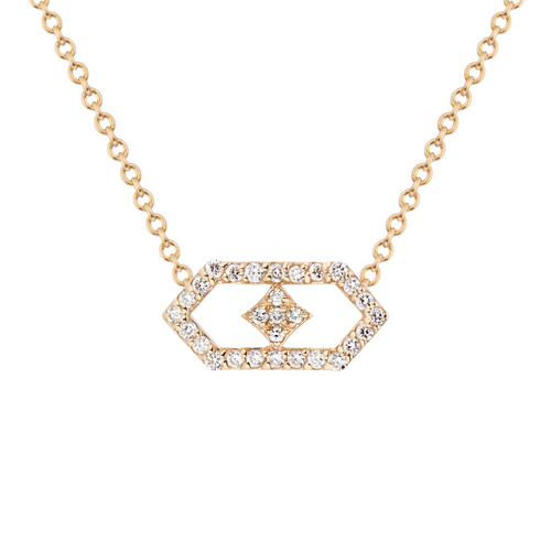 Gianna Petite Chevron Pendant in 14K Yellow Gold and Diamonds