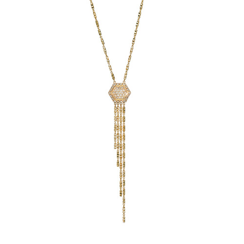 Hexagon Dangle Necklace in 14K Yellow Gold with Diamonds