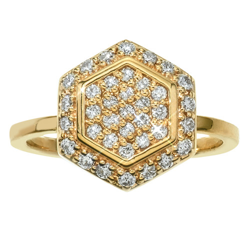 Hexagon Rind in 14K Yellow Gold with Diamonds