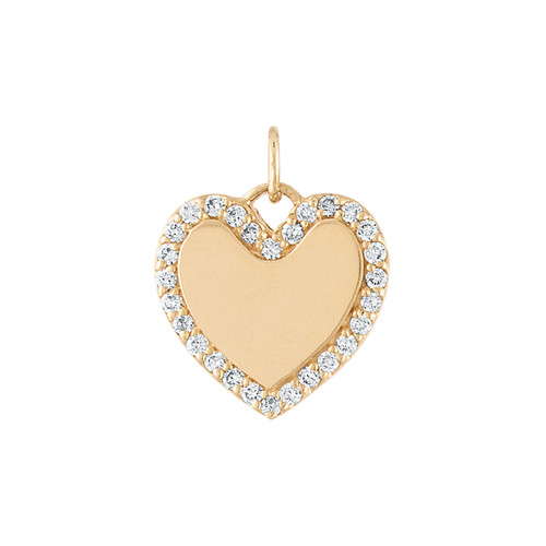 GiGi's Favorite Heart Charm in 14k Yellow Gold with Diamonds