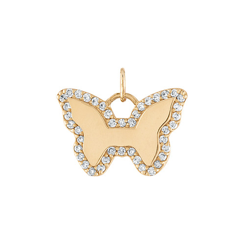 GiGi's Favorite Butterfly Charm in 14K Yellow Gold with Diamonds