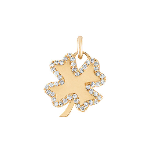 GiGi's Favorite Four Leaf Clover Charm in 14K Yellow Gold with Diamonds