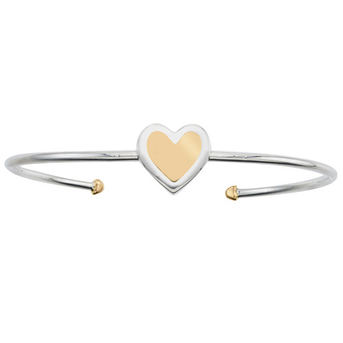 Bold Heart Cuff in Sterling Silver and 14K Yellow Gold