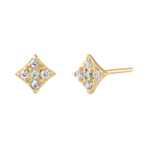 Mini Gianna Diamond Stud Earrings with Diamonds in 14k Yellow Gold