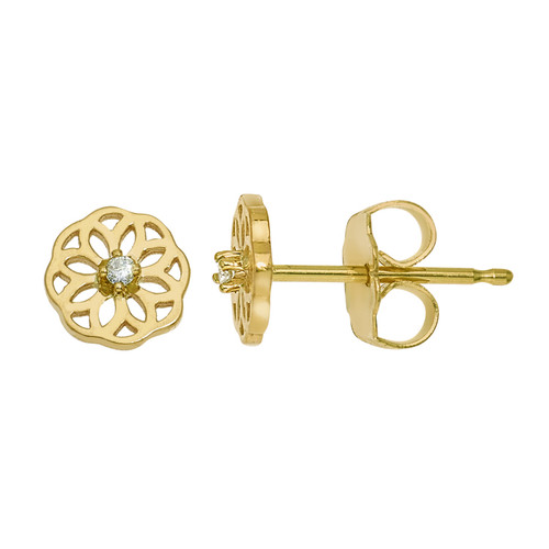 Mini Sophia Flower earring in 14K gold with diamonds
