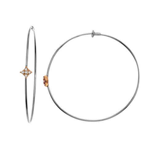 Gianna hoop earrings in white gold with rose gold motif