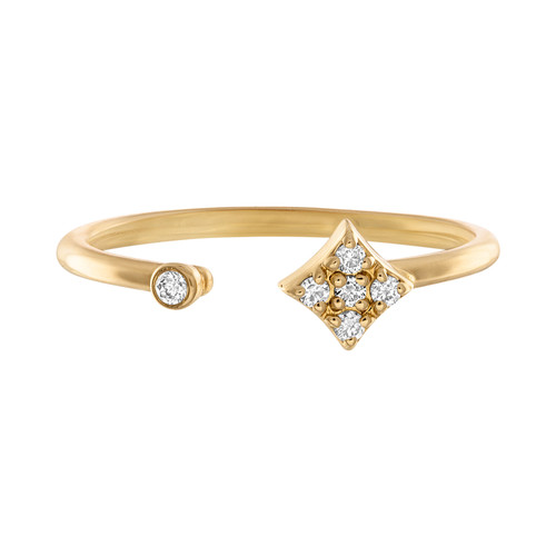 Mini Gianna  Open ring in 14k yellow gold with diamonds