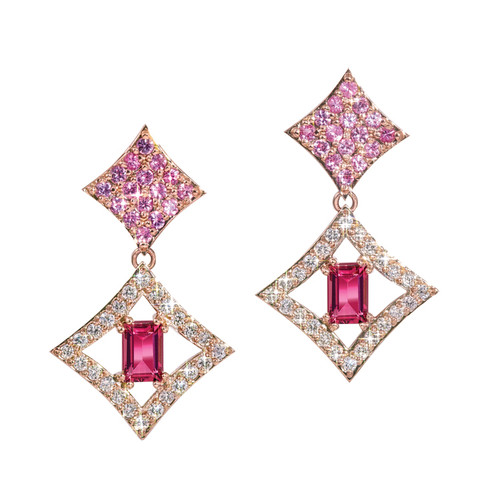 Regalo Dangle Earrings in 14K Rose Gold with Diamonds, Sapphires and Tourmalines