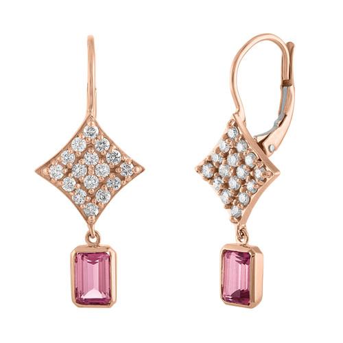 Regalo Pink Tourmaline Drop Earrings