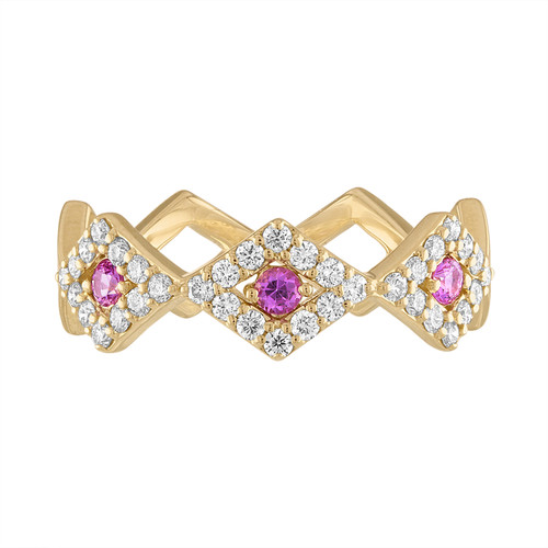 Lucia Pave band with pink sapphires