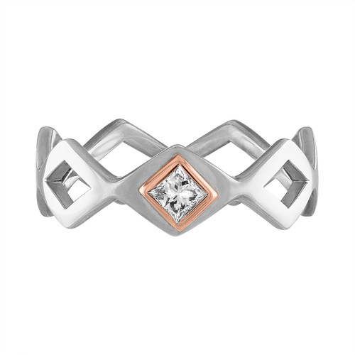 Lucia Single Stone Stacking Band with Diamond