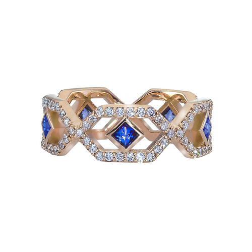 Gianna Full Eternity Band with Blue Sapphires