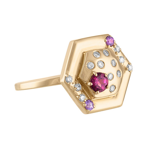 Favo Cocktail Ring with Rhodolite Garnet, Purple Sapphires, and Diamonds
