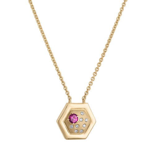 Favo small pendant with diamonds and rhodolite garnet