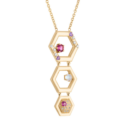 Favo 3 Tier Pendant with Diamonds, Rhodolite garnet, Purple Sapphire and Moonstone
