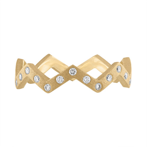 Lucia Satin Finish Diamond Band in Yellow Gold