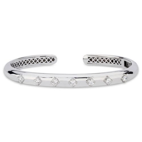 GiGi Classic Hinged Cuff with Diamonds in 14K White Gold