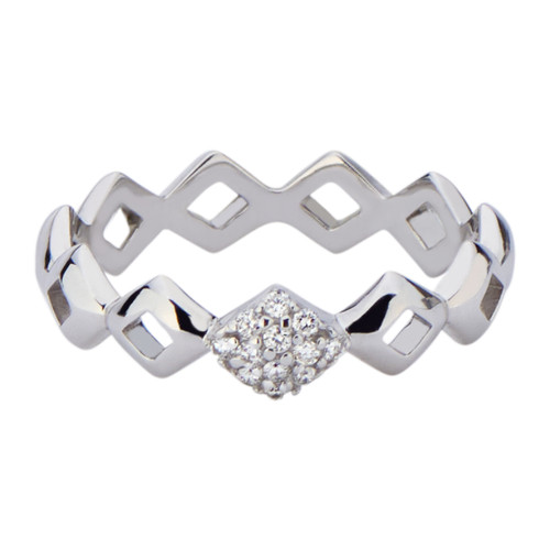 Lucia Pinky Stacking Ring with Diamonds