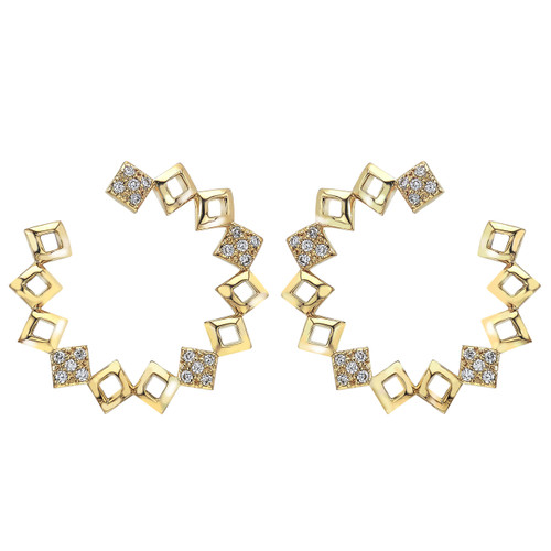 Lucia Pave Circle Earring in Yellow gold