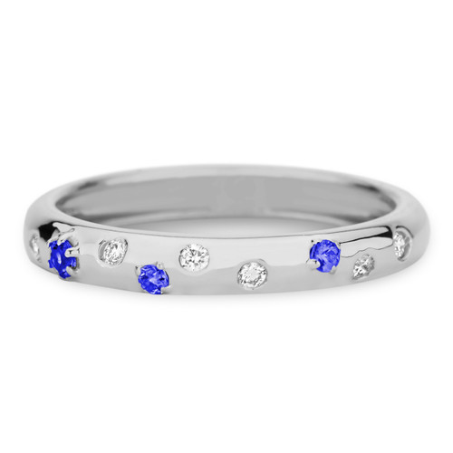 Delicato 3mm Band with Blue Sapphires