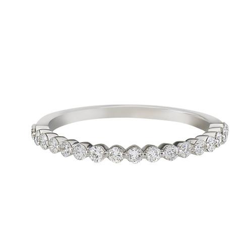 Single prong half eternity band with round brilliant diamonds