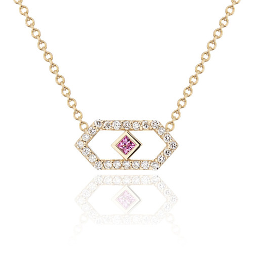 Gianna  ChevronPendant  with diamonds and  pink sapphire