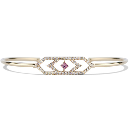 Giana Chevron  Cuff Bracelet with Diamonds and Pink Sapphires