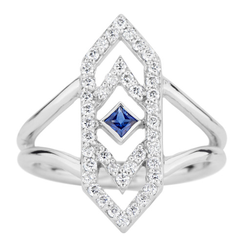 Gianna Chevron  Ring with Blue Sapphire and Diamonds