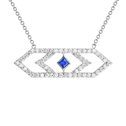 Gianna Large Pendant with Blue Sapphire and Diamonds