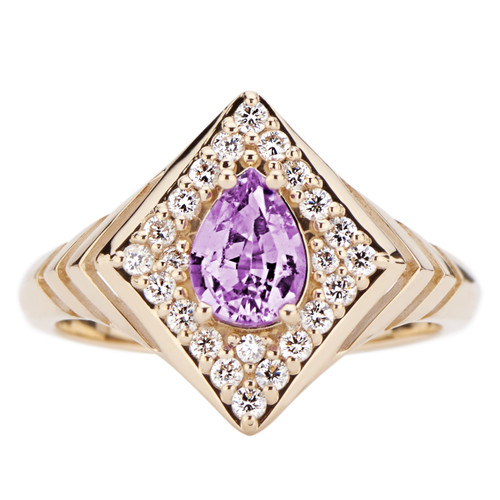Regalo Signet Ring with Diamonds and Purple Sapphire