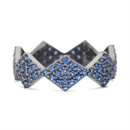 Lucia Full Pave Band in Back Rhodium Gold with Blue Sapphires