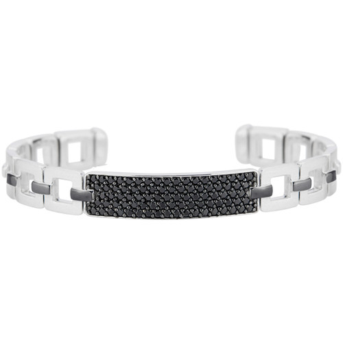 Marcello Sterling Silver Cuff with Black Spinel stones and black rhodium accents