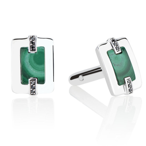 Marcello Cuff Links with Black Diamonds and Malachite in Sterling Silver