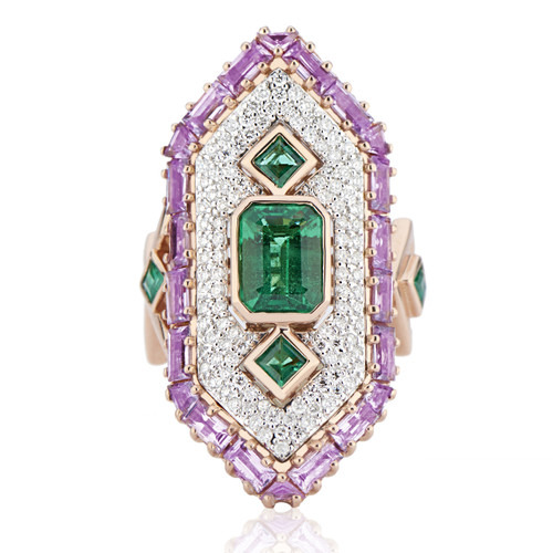 Cleopatra Emerald, Sapphire, and Diamond Ring in 18K Yellow Gold