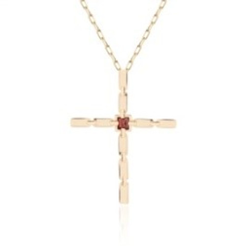 Marcello Thin Cross with Garnet in 14K Yellow Gold