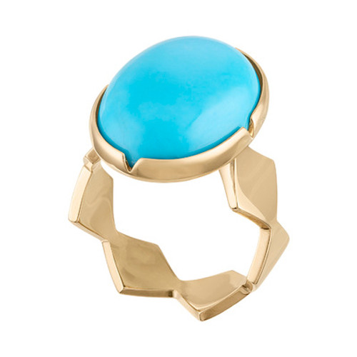 Lucia Cabochon Ring with Turquoise and closed Shank