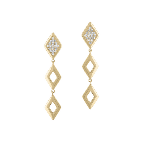 Lucia 3 Tier Earrings with Diamonds