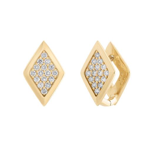Lucia Geometric Huggie in yellow gold with diamonds