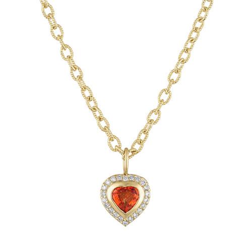 Limited Edition Orange Sapphire Puffed  Heart