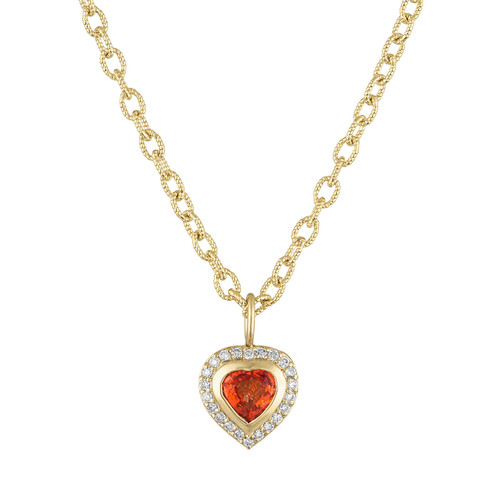 Limited Edition Orange Sapphire Puffed  Heart