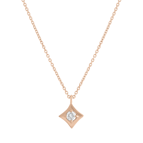 Regalo Single Diamond Pendant Rose Gold