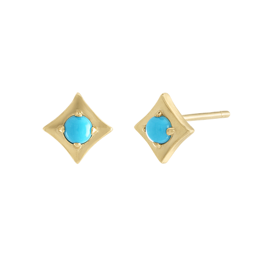 Regalo Turquoise Stud Yellow Gold