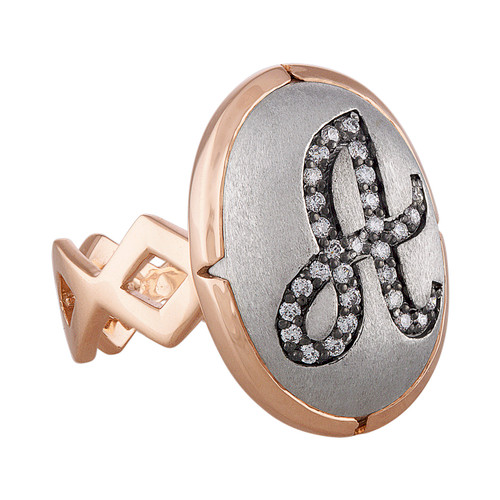 Lucia Initial Signet Ring in Rose Gold and white gold with Diamonds