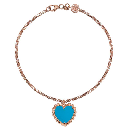 Beaded Hearts Bracelet with Turquoise
