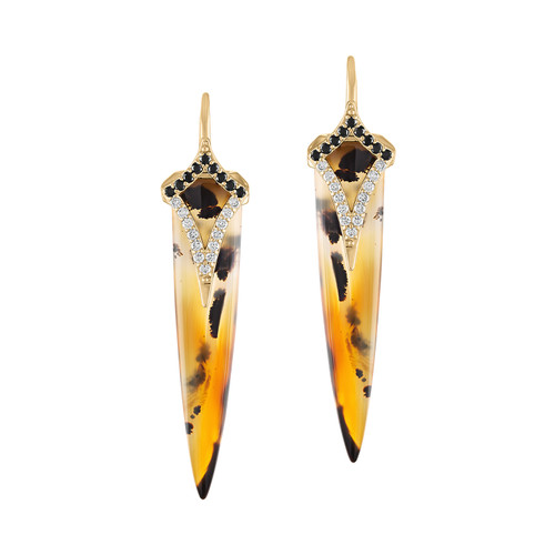 Agate Point Earrings with black and white diamonds