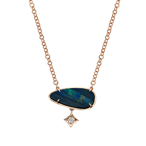 Australian Opal doublet with diamond dangle