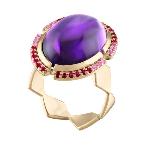 Lucia Cabochon Ring with Amethyst